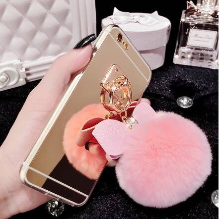 Fur Pom Pom + Bow Phone Case | Pink - Green Hearts Pink