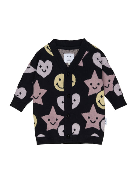 Huxbaby Be Happy Knit Cardigan | Black
