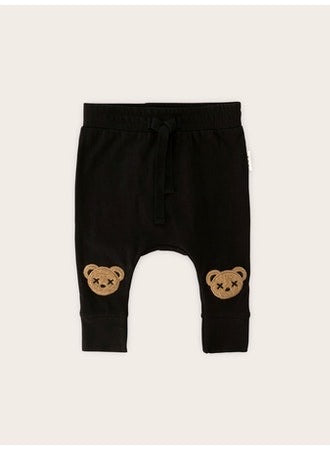 Huxbaby Huxbear Appliqué Drop Crotch Pants | Black