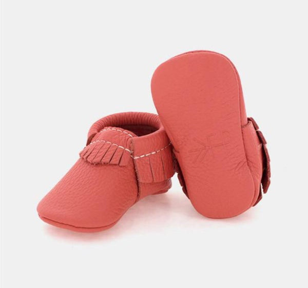 Freshly Picked Moccasins | Coral - Green Hearts Pink