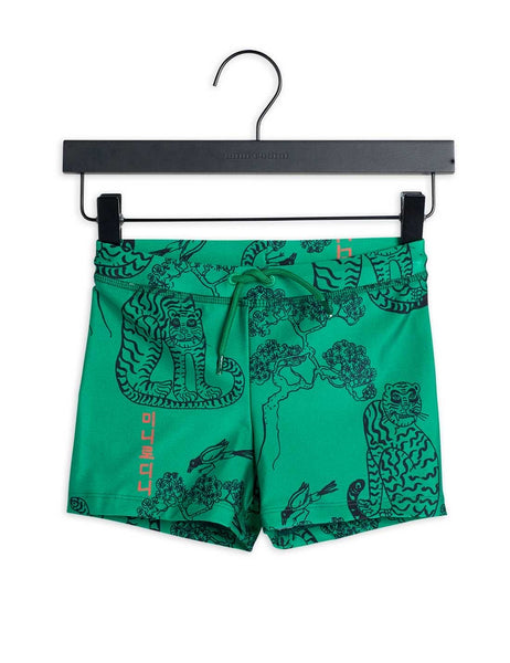 Mini Rodini Tiger Swim Shorts | Green