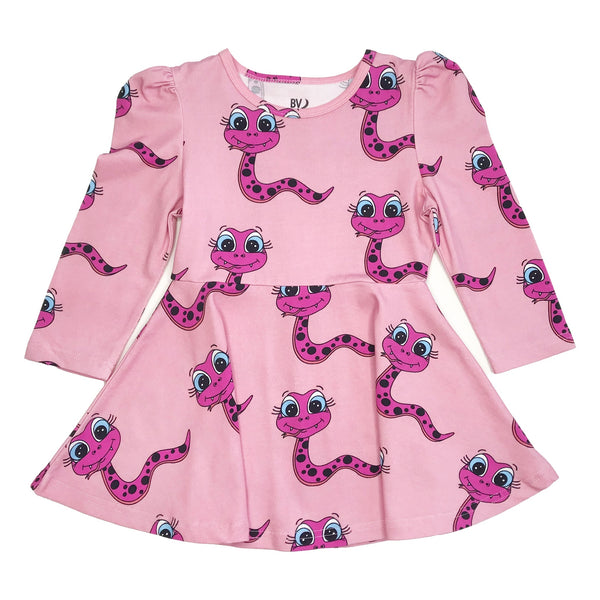 Banana Valentine Puff Sleeve Dress | Purple Snakes