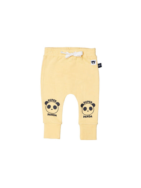 Huxbaby Super Panda Drop Crotch Pant | Banana - Green Hearts Pink
