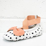 From Zion Ballet Mocs | Polkadot + Peach - Green Hearts Pink