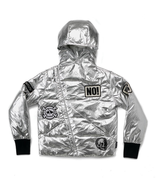 Nununu Super Patch Down Jacket | Silver - Green Hearts Pink