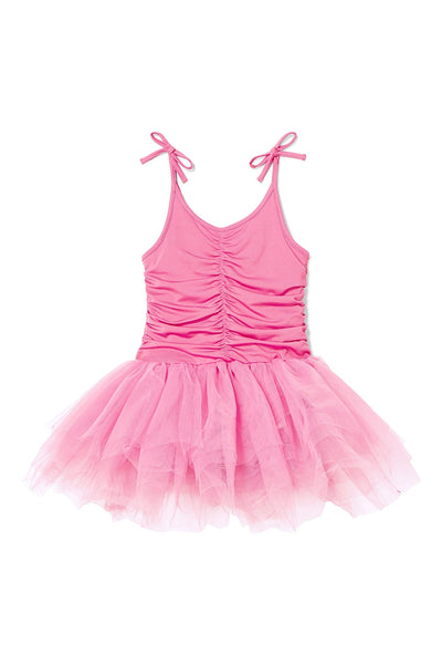 Plum Ruched Tutu Dress | Petunia - Green Hearts Pink