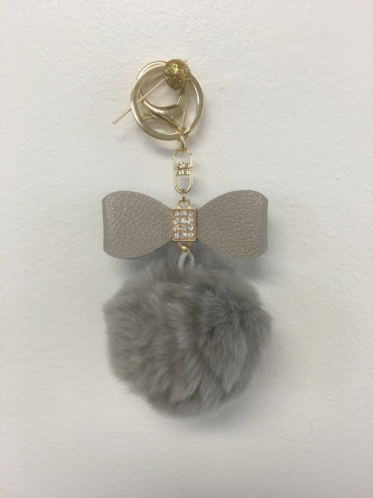 Fur Pom Pom + Bow | Grey - Green Hearts Pink
