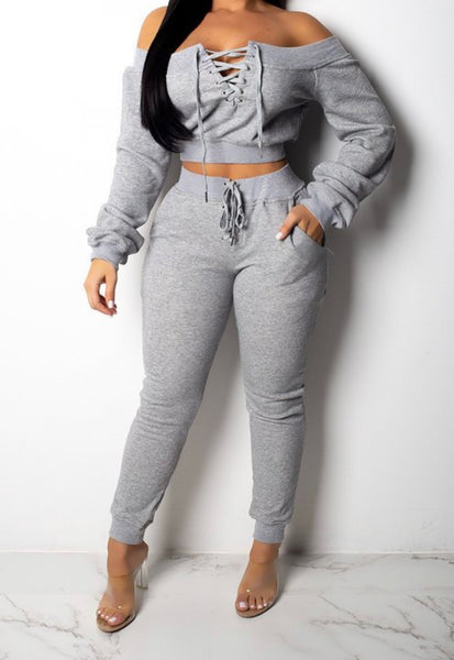 Off The Shoulder Jogger Set