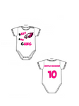 Baby Bird Gang Onesie - Green Hearts Pink
