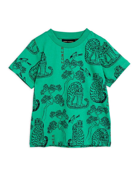 Mini Rodini Tiger AOP SS Tee | Green