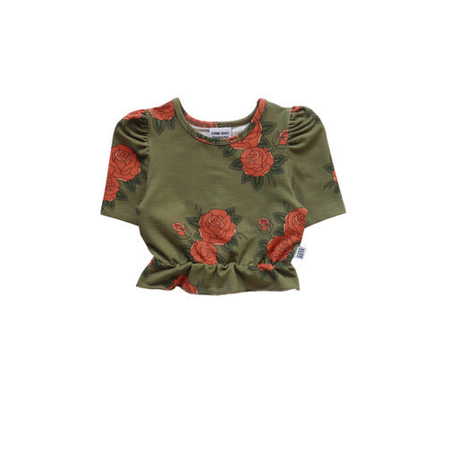 One Day Cropped Top | Green Roses