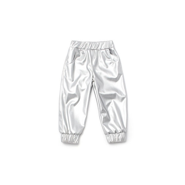 OMAMImini Faux Leather Joggers | Silver