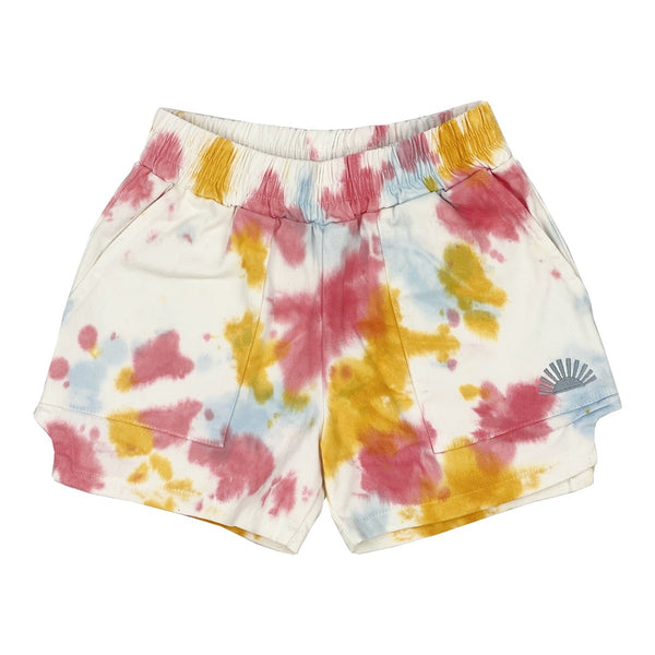 Tiny Whales Cosmic Shorts | Tie Dye - Green Hearts Pink