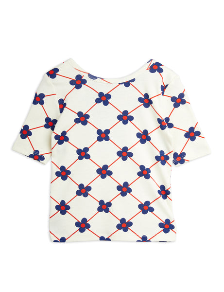 Mini Rodini Flower Check AOP Ballet Tee | Off White