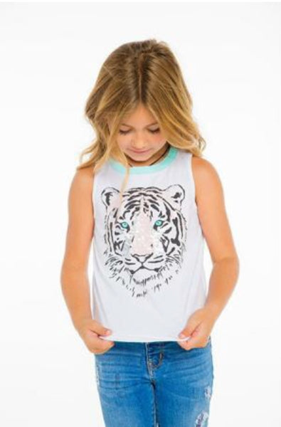 Chaser Tank Top | White Tiger - Green Hearts Pink