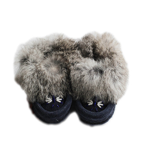 Beaded Fur Trimmed Slippers | Navy - Green Hearts Pink