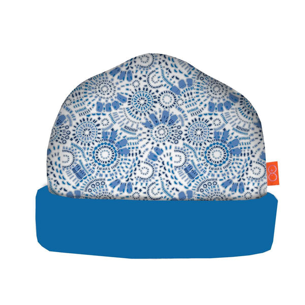 Magnificent Baby | Blue Modern Mosaic Hat - Green Hearts Pink
