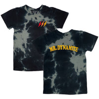 Tiny Whales Mr. Dynamite SS Tee | Black Tie Dye - Green Hearts Pink