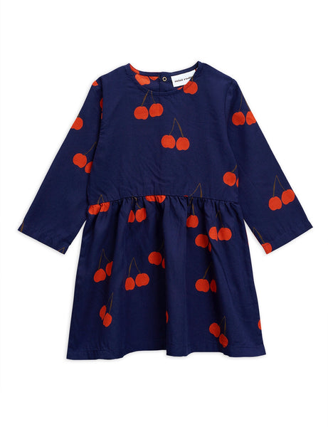 Mini Rodini Cherry Woven LS Dress | Blue