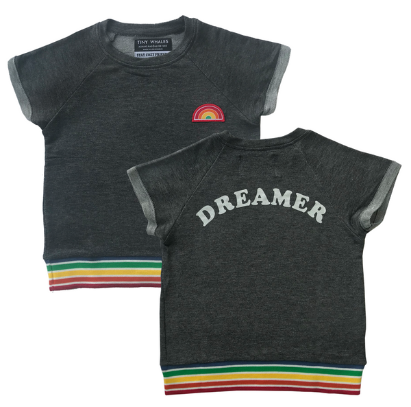 Tiny Whales Top | Dreamer - Green Hearts Pink