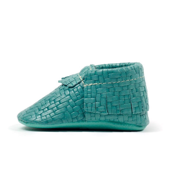 Freshly Picked Mocassins | Woven Teal - Green Hearts Pink