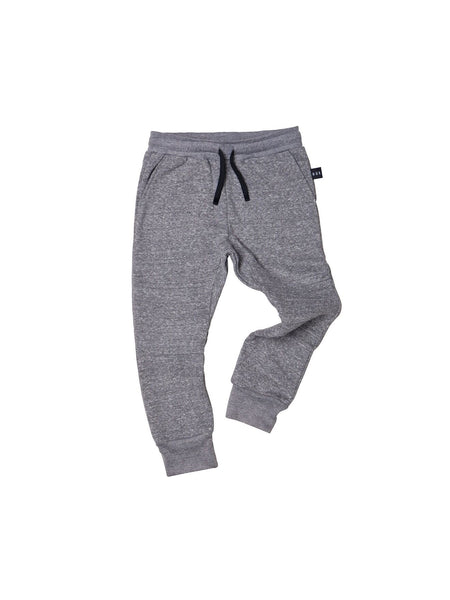 Huxbaby Track Pants | Charcoal Slub - Green Hearts Pink