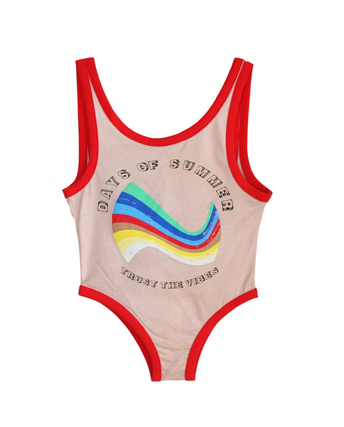 Bandy Button Swimsuit | Sea - Green Hearts Pink