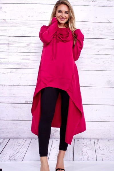 Hooded Top | Fuschia - Green Hearts Pink