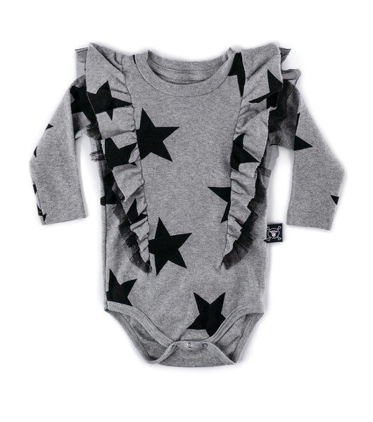 Nununu Ruffled Star Onesie | Heather Grey - Green Hearts Pink