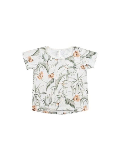Rylee and Cru Basic Tee | Tropical - Green Hearts Pink