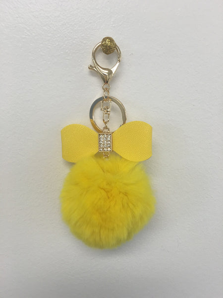 Fur Pom Pom + Bow | Yellow - Green Hearts Pink
