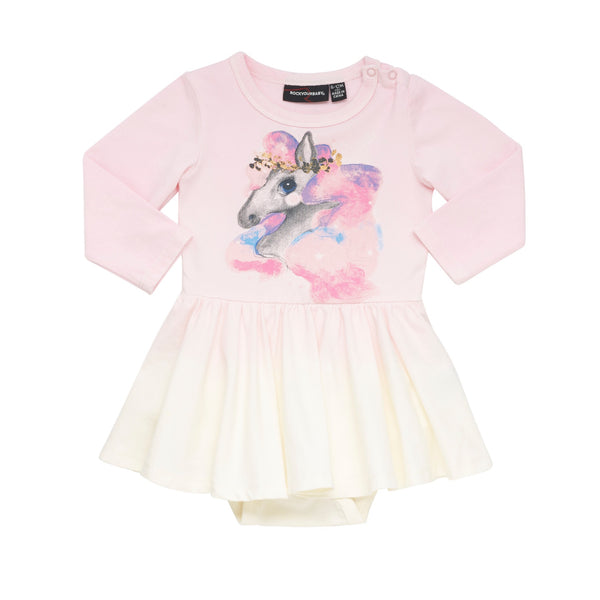 Rock Your Baby LS Waited Dress | Rainbow Brumby - Green Hearts Pink