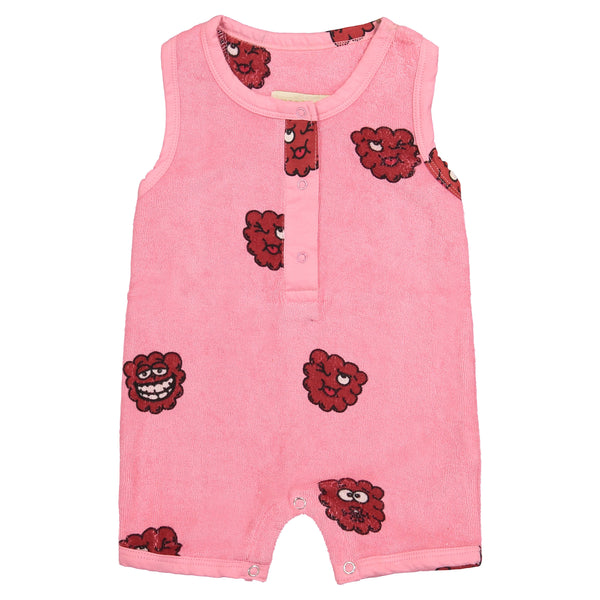 Hugo Loves Tiki Terry Shorts Romper | Pink Raspberry - Green Hearts Pink