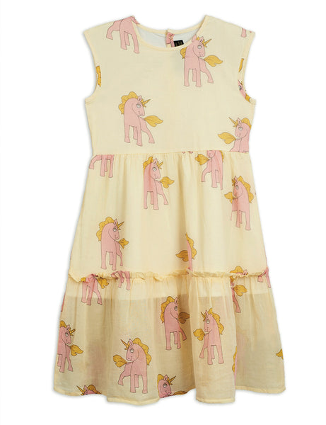 Mini Rodini Unicorn Woven Long Dress | Yellow - Green Hearts Pink
