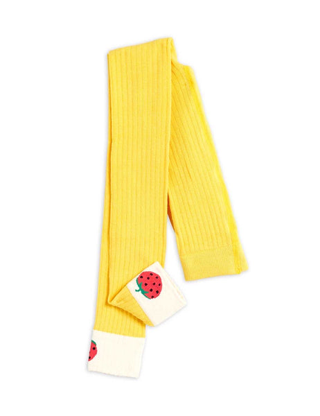 Mini Rodini Ribbed Strawberry Leggings | Yellow