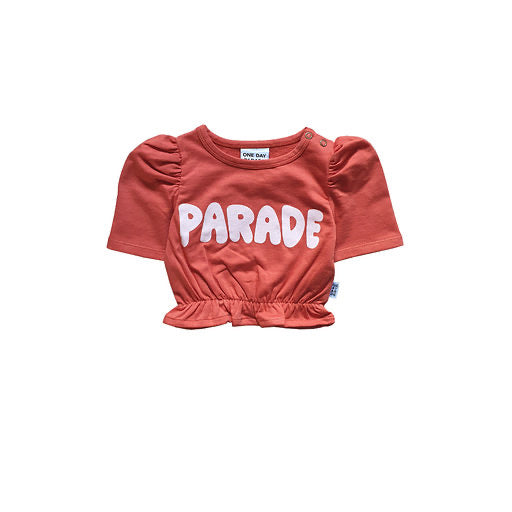 One Day Parade Cropped Top | Parade - Green Hearts Pink