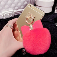 Fur Pom Pom + Bow Phone Case | Hot Pink - Green Hearts Pink