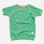 Indikidual Short Sleeve Sweatshirt | Spotty Teal - Green Hearts Pink