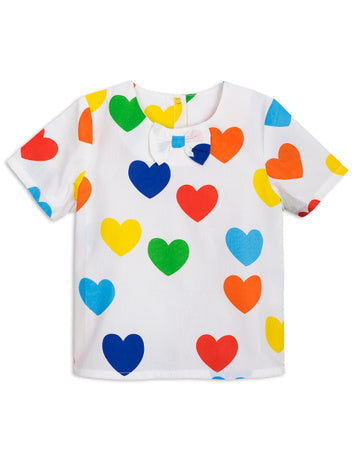 Mini Rodini Rainbow Love Woven Top | Off White - Green Hearts Pink