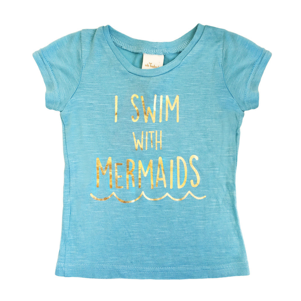 Oh Baby! Short Sleeve Slub Top | I Swim With Mermaids - Green Hearts Pink