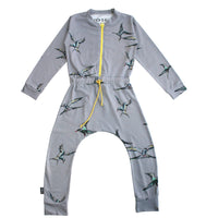 Moi Crane Jumpsuit | Gray - Green Hearts Pink