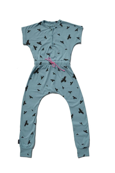 Moi Birdy Jumpsuit | Sea Blue - Green Hearts Pink