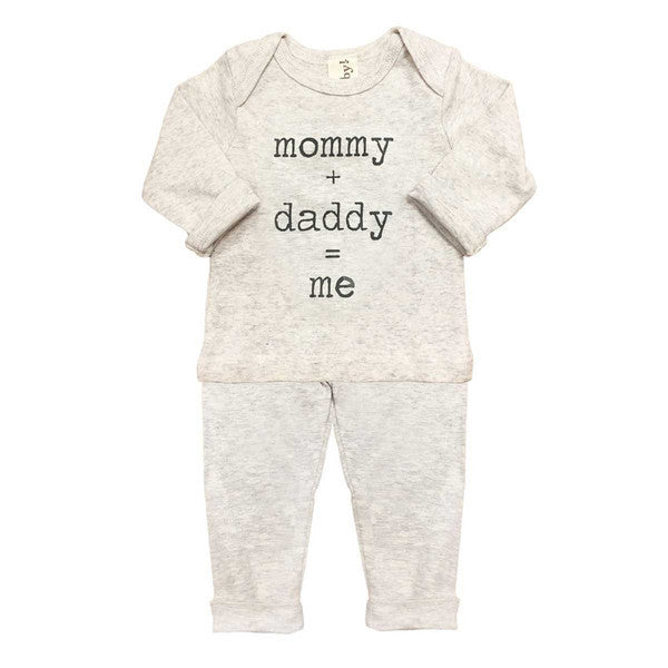 Oh Baby! Two Piece Set | Mommy + Daddy = Me - Green Hearts Pink