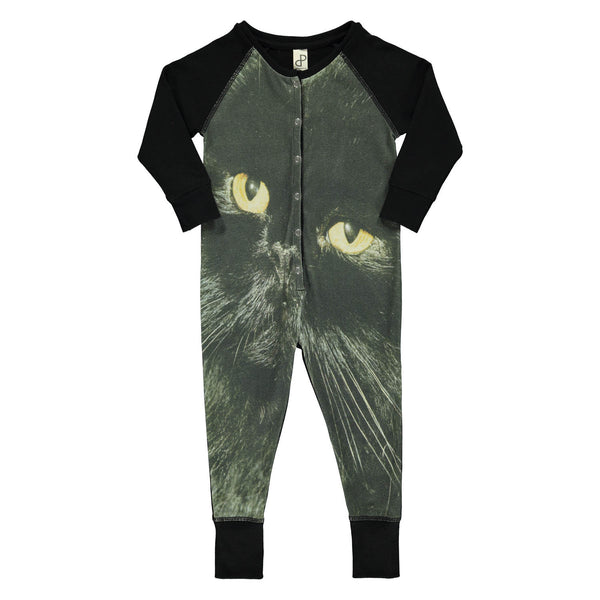 Popupshop One Piece Suit | Black Cat - Green Hearts Pink