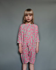 Beau Loves Oversized Play Suit | Modern Leopard - Green Hearts Pink