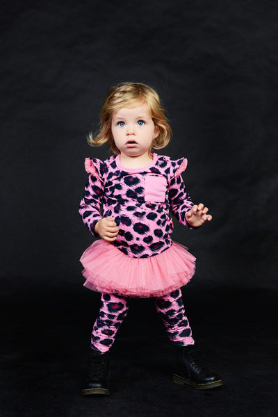 Rock Your Baby Circus Tights | Pink Leopard - Green Hearts Pink