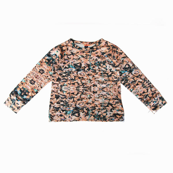 Agatha Cub Sweatshirt | Field Peach - Green Hearts Pink