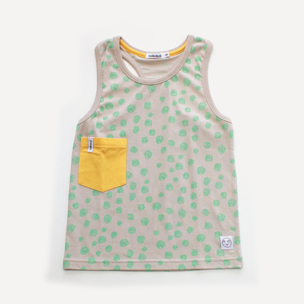 Indikidual Spotty Tank Top | Yellow - Green Hearts Pink