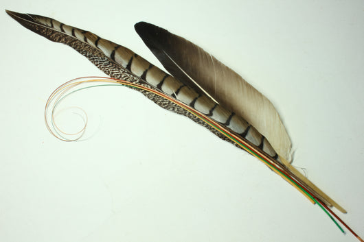 Large, dramatic pheasant quill stickup trim. 5528. Last one.