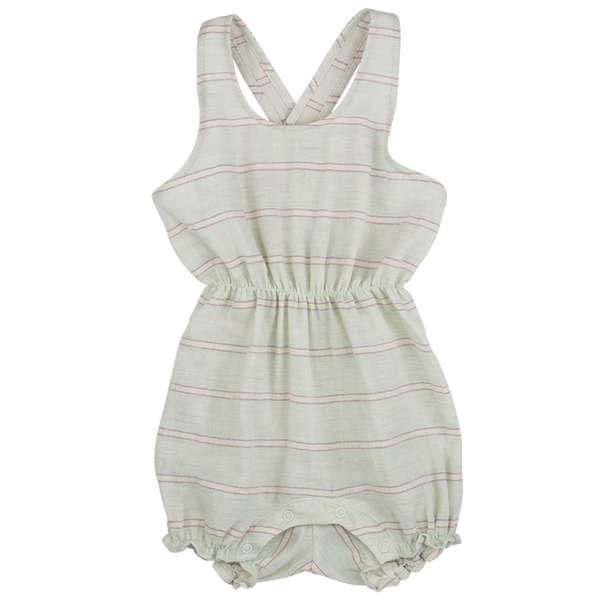 Light Mint Stripe Crossback Romper